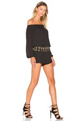 Three Eighty Two Thompson Off Shoulder Romper Black