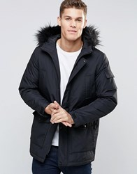 Asos Parka Jacket With Faux Fur Trim In Black Black