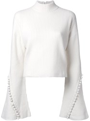 Irene Ribbed Cropped Jumper White