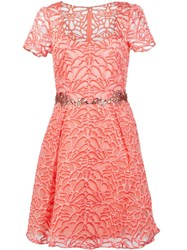 Marchesa Notte Embroidered Floral Dress Pink And Purple