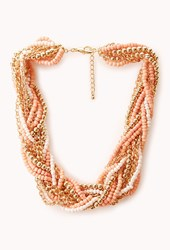 Forever 21 Braided Beads And Chain Necklace