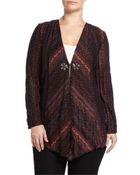 Alberto Makali Long Sleeve Open Cardigan W Beaded Trim Plum