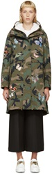 Valentino Green And Black Butterfly Camouflage Parka