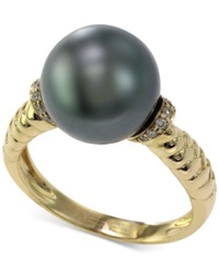 Effy Collection Effy Tahitian Pearl 11 Mm And Diamond Accent Ring In 14K Gold Gray
