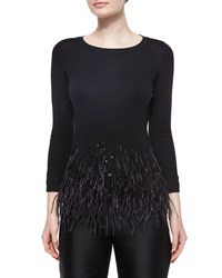 Carolina Herrera Feather Trimmed Knit Top Black