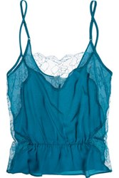 Fleur Du Mal Rose Leavers Lace Paneled Silk Crepe Camisole Azure