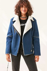 J.O.A. Denim Sherpa Aviator Jacket Indigo