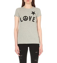 Love Moschino Sequin Embroidered Cotton Jersey T Shirt Grey