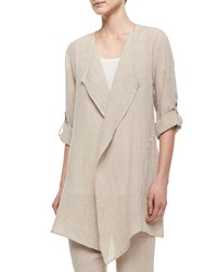 Caroline Rose Long Crinkled Linen Jacket Women's Black