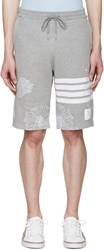 Thom Browne Grey Koi And Chrysanthemum Lounge Shorts