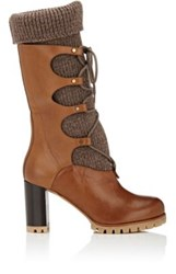 Chloe Women's Leather Lace Up Boots Dark Brown