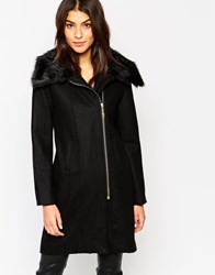 Glamorous Zipped Coat With Faux Fur Collar Black