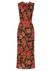 Emilia Wickstead Carrie Floral Print Midi Dress Black Print