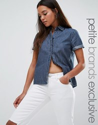 Noisy May Petite Short Sleeve Denim Pin Stripe Shirt Blue