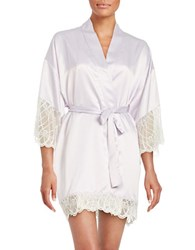 Flora Nikrooz Lace Trimmed Satin Robe Lilac