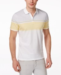 Alfani Men's Monroe Striped Chest Polo Only At Macy's Sunlit Yellow