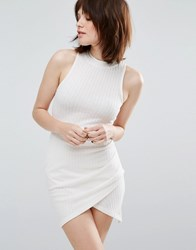 Glamorous Bodycon Dress With Crossover Skirt White Rib