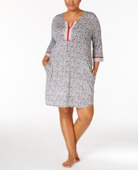 Ellen Tracy Plus Size Contrast Trimmed Sleepshirt Black Print