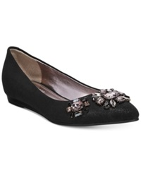 Kenneth Cole Reaction Step Forward Pointed Toe Jeweled Flats Women's Shoes Black