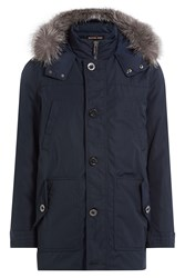 Michael Kors Collection Coat With Fox Fur Trimmed Hood Blue