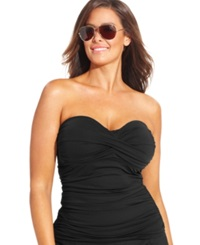 Anne Cole Plus Size Twist Front Tankini Top Women's Swimsuit Black
