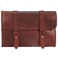 John Lewis And Co. Leather Roll Wash Bag Brown