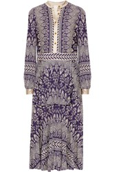 Tory Burch Tovero Printed Crepe De Chine Midi Dress Dark Purple