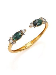 Alexis Bittar Prophecy Crackle Glass And Foil Doublet Cuff Bracelet Goldtone Gold Green