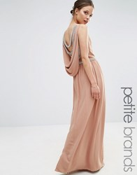 Tfnc Petite Wedding Embellished Drape Back Maxi Dress Taupe Beige
