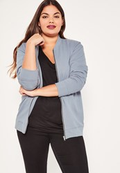 Missguided Plus Size Grey Jersey Bomber Jacket