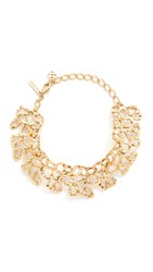 Oscar De La Renta Textured Chain Link Choker Light Gold