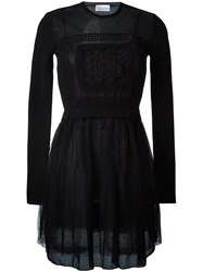 Red Valentino Crochet Sheer Chest Dress Black