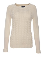 Lands' End Women S Drifter Mixed Stitch Crew Neck Winter White