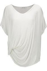 Elizabeth And James Denver Draped Stretch Jersey T Shirt Off White