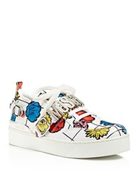 Moschino Floral Grid Print Low Top Sneakers White