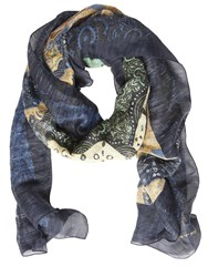 Etro Paisley Printed Silk And Linen Scarf