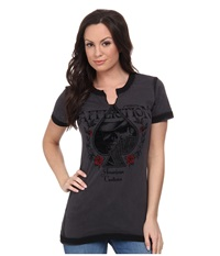 Affliction Ac Aces High Short Sleeve Slit Neck Tee Charcoal Seam Wash Women's T Shirt Gray