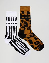 Asos Sports Style Socks 2 Pack With Animal Design Multi