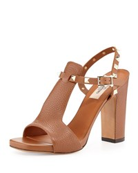 Valentino Pebbled Leather Rockstud T Strap Sandal Tobacco