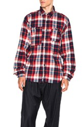 Engineered Garments Plaid Flannel Work Shirt In Red Checkered And Plaid Red Checkered And Plaid