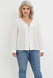 Forever 21 Plus Size Self Tie Chiffon Blouse Ivory