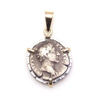 Ancient Treasures Pendant With Silver Ancient Roman Coin