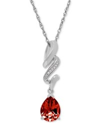 Macy's Rhodolite Garnet 2 Ct. T.W. And Diamond Accent Swirly Pendant Necklace In Sterling Silver