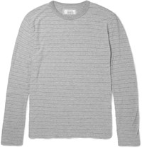 Officine Generale Marled Cotton Jersey T Shirt Gray