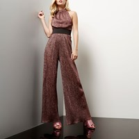 River Island Womens Pink Pleated Sparkly Jumpsuit