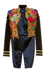 Dolce And Gabbana Sequin Paillette Tailcoat Jacket Blue Gold Green