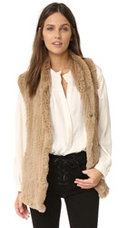 June Fur Shawl Vest Camel