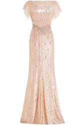 Jenny Packham Sequin And Bead Embellished Floor Length Gown Pink