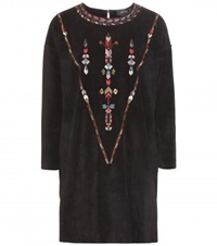 Isabel Marant Maggy Embroidered Suede Tunic Black