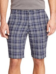 Saks Fifth Avenue Plaid Linen Shorts Indigo